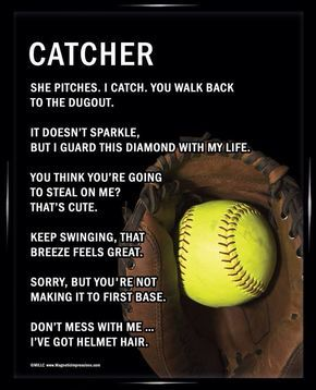 Softball Catcher 8x10 Sport Poster Print Softball quotes