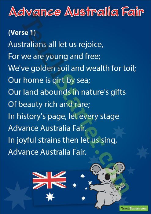 Australian National Anthem Verse 1 2 Australian