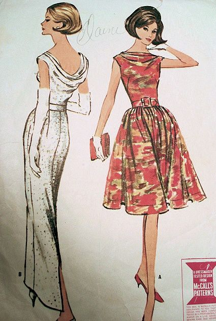 1960s  McCALLS 7052 DRESS PATTERN ELEGANT EVENING GOWN COCKTAIL DRESS COWL DRAPED BACK  BATEAU BOAT NECK FRONT