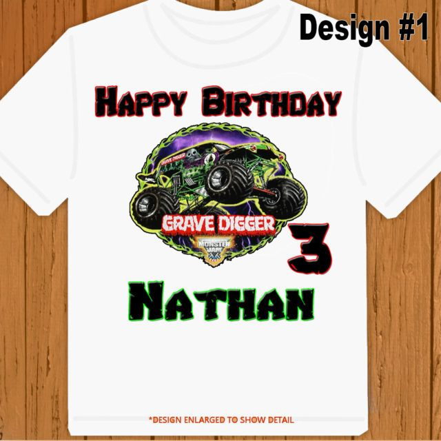 Grave Digger Monster Truck Personalized Birthday Shirt Name Age Party Favor Personalized Birthday Shirts Monster Jam Birthday Party Monster Truck Birthday Party Ideas Cake