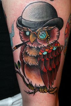 Mr Owl Traditional Style Tattoo Traditional Owl Tattoos Tattoos