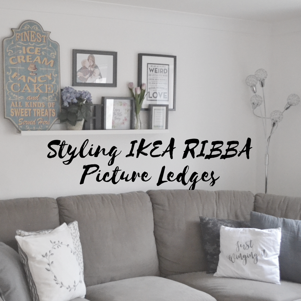 Styling IKEA RIBBA Picture Ledges With Ikea Photo Frames, Fake Flowers,  Letters And Signs