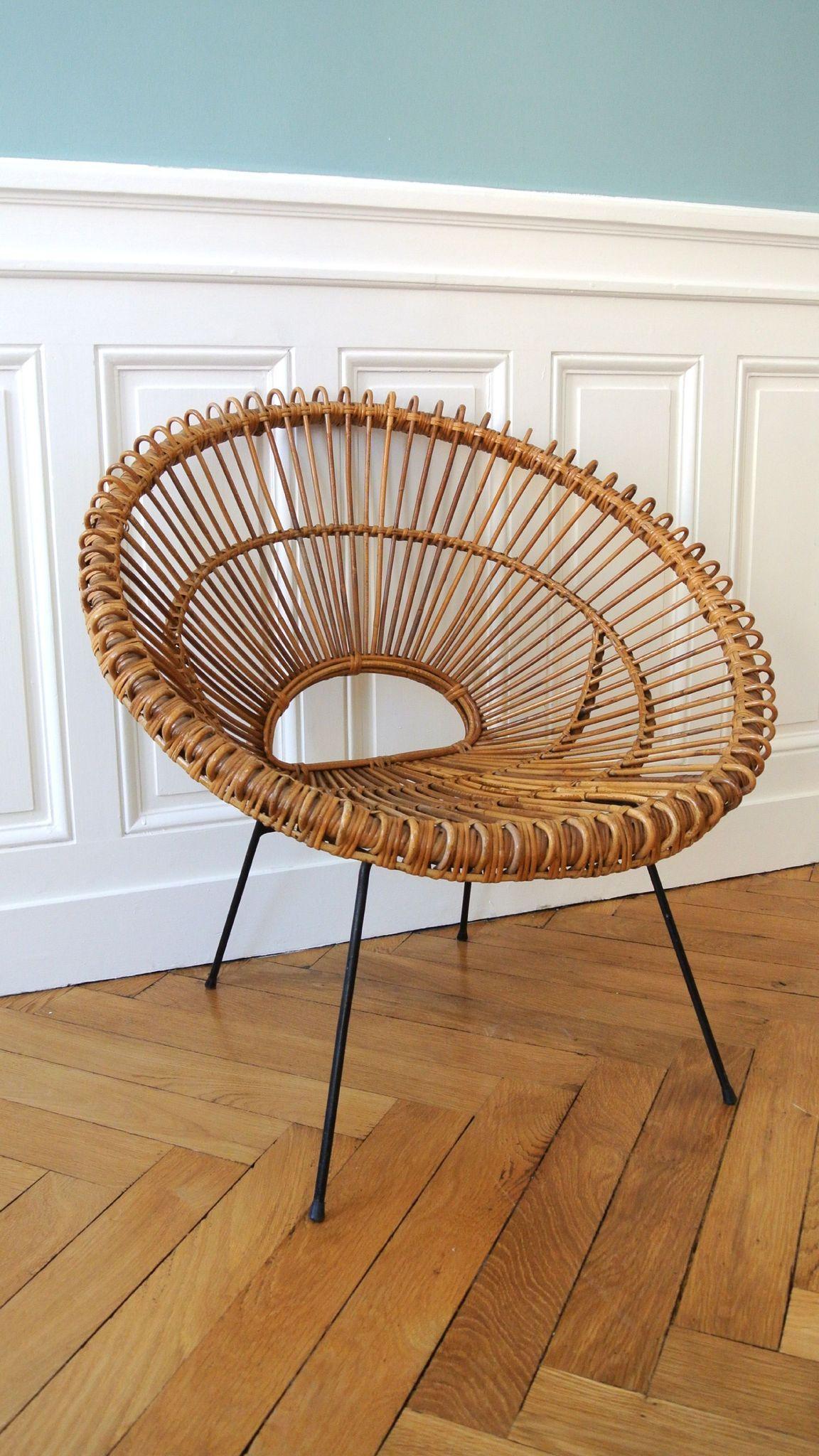 fauteuil en rotin des ann es 50 janine abraham solveig vintage galerie muebles bamb. Black Bedroom Furniture Sets. Home Design Ideas