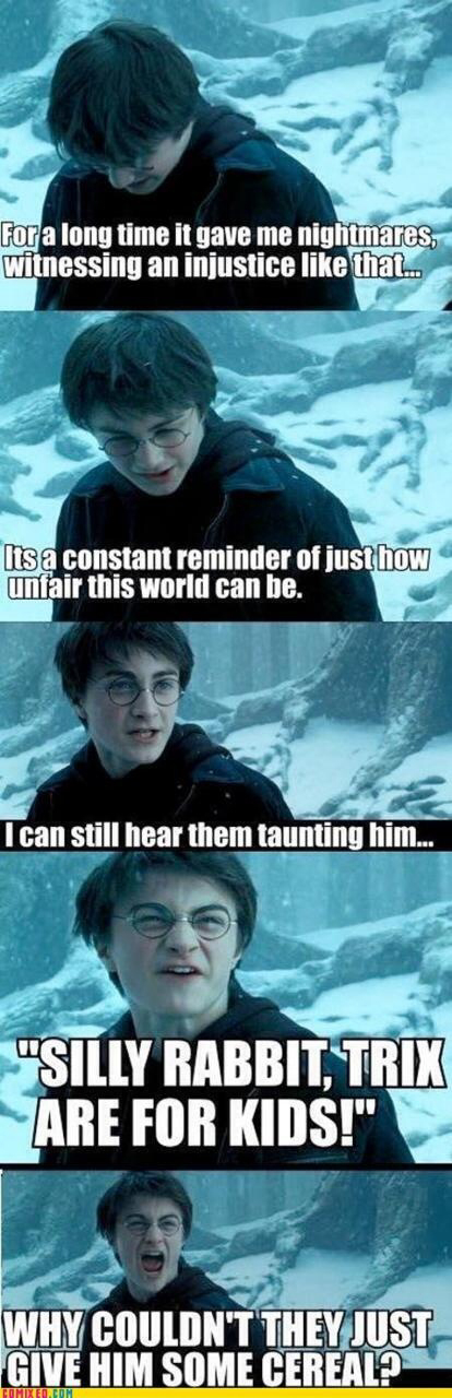 Give The Poor Bunny Some Cereal Harry Potter Memes Hilarious Harry Potter Jokes Harry Potter Funny Pictures