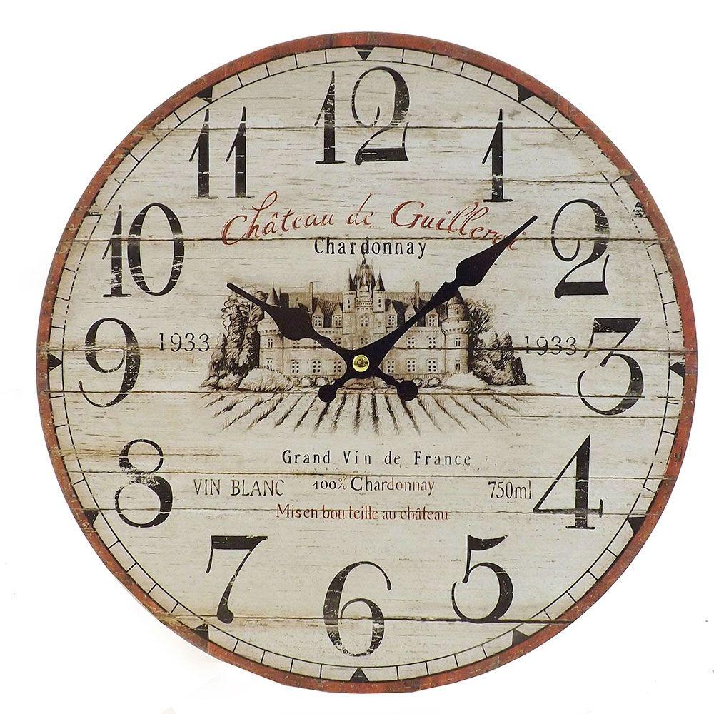 c0312d1bd88 Relógio de Parede Chateau Di Guillervi Oldway - Em MDF - 29 cm ...