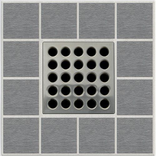 Ebbe E4404 Square Shower Drain Grate Brushed Nickel Polished