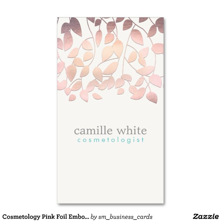 Cosmetology Pink Foil Embossed Look Leaves Business Cards | Chic ...