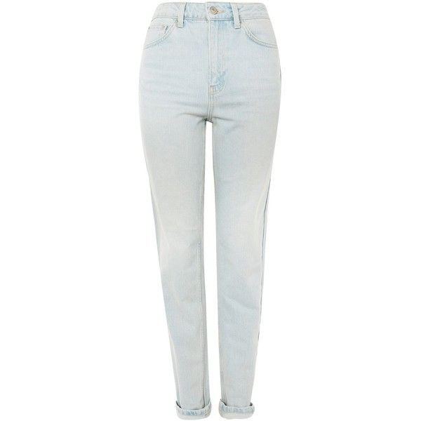 TopShop Tall Vintage Style Mom Jeans (95 CAD) ❤ liked on Polyvore featuring jeans, bleach denim, white jeans, high rise jeans, white high-waisted jeans, highwaist jeans and topshop jeans