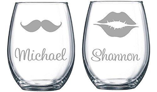 Personalized Stemless Wine Glass Set With Names With Mustache And Lips Set This Is An Amazon Affiliate Link Wan Stemless Wine Glass Stemless Wine Glass Set