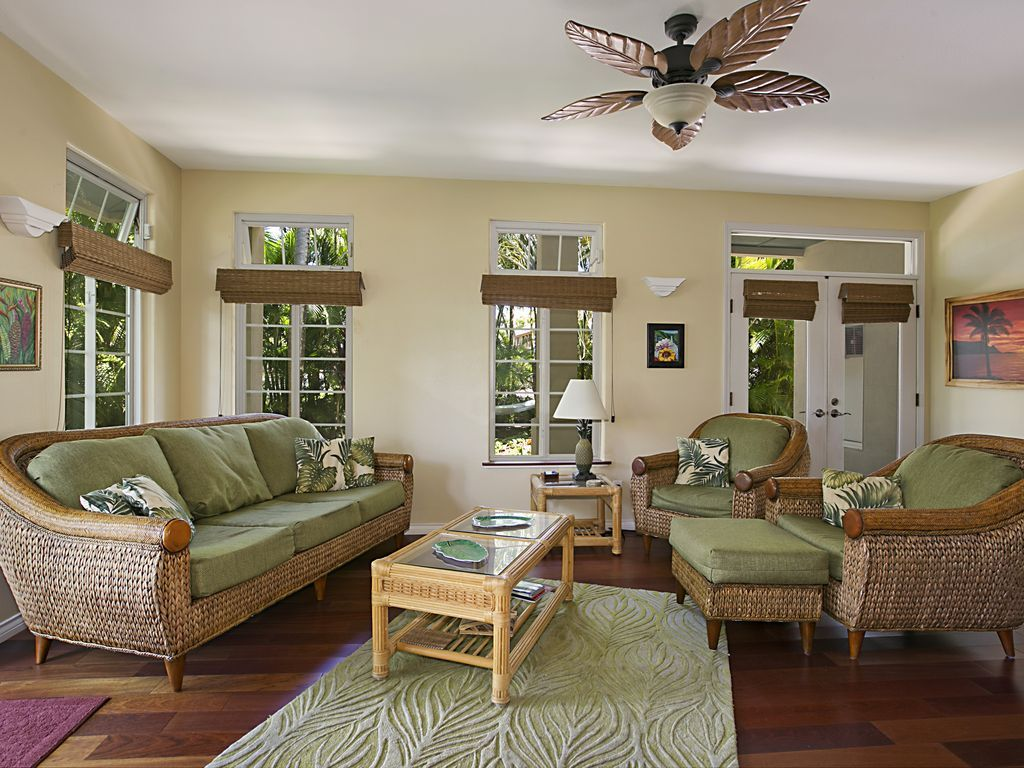 Tropical One Bedroom Suite with kitchen, living room, deck