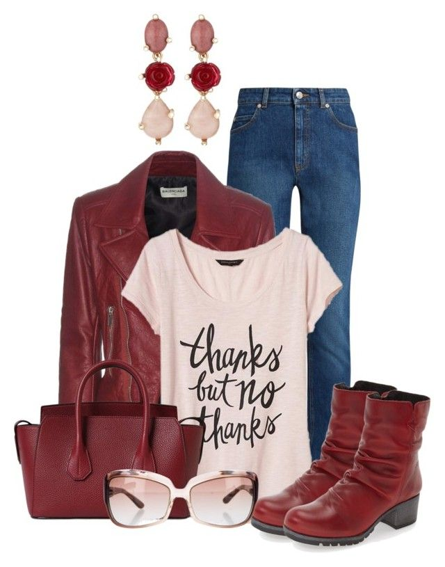 """""""Red and Pink Fall"""" by lchar ❤ liked on Polyvore featuring Alexander McQueen, Balenciaga, Banana Republic, Bally, Bos. & Co., Oscar de la Renta and Oliver Peoples"""