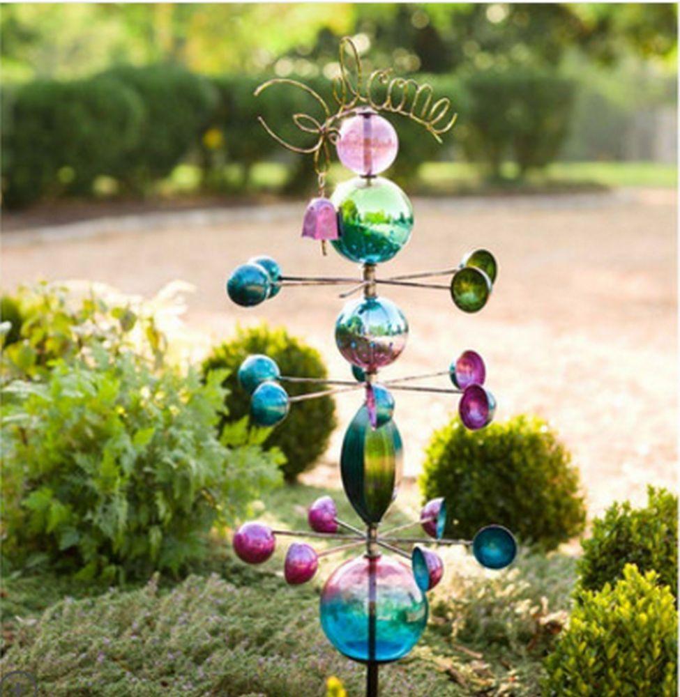 New Garden Wind Spinner Yard Decor Windmill Stake Glass Sculpture ...