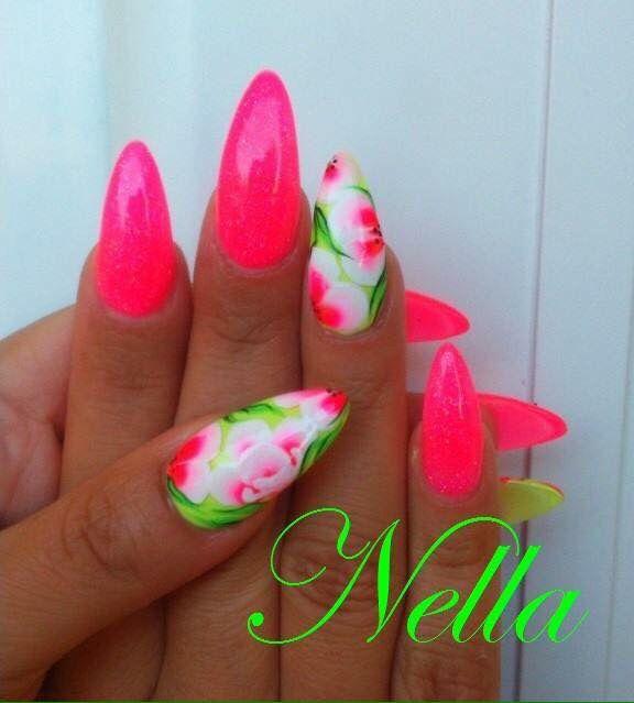 Fluo nails Unghie Stile Neon, Unghie Shellac, Unghie Rosa, Manicura, Unghie  A