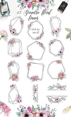 Watercolor floral frames Crystal flowers clipart Polygonal Peonies Anemone Romantic geometry Wedding