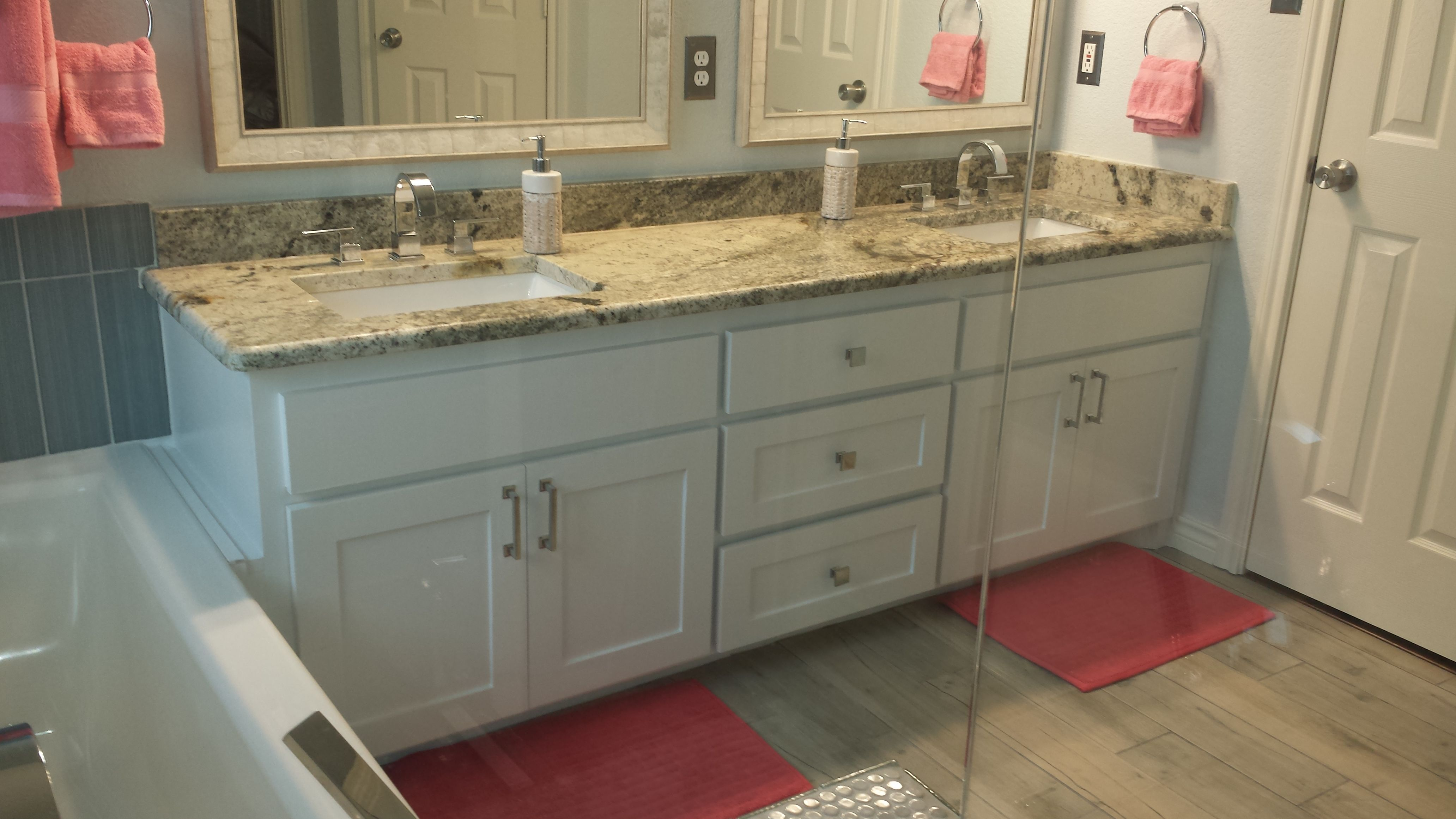 84 Inch Double Custom Hardwood Vanity Painted In Sherwin Williams