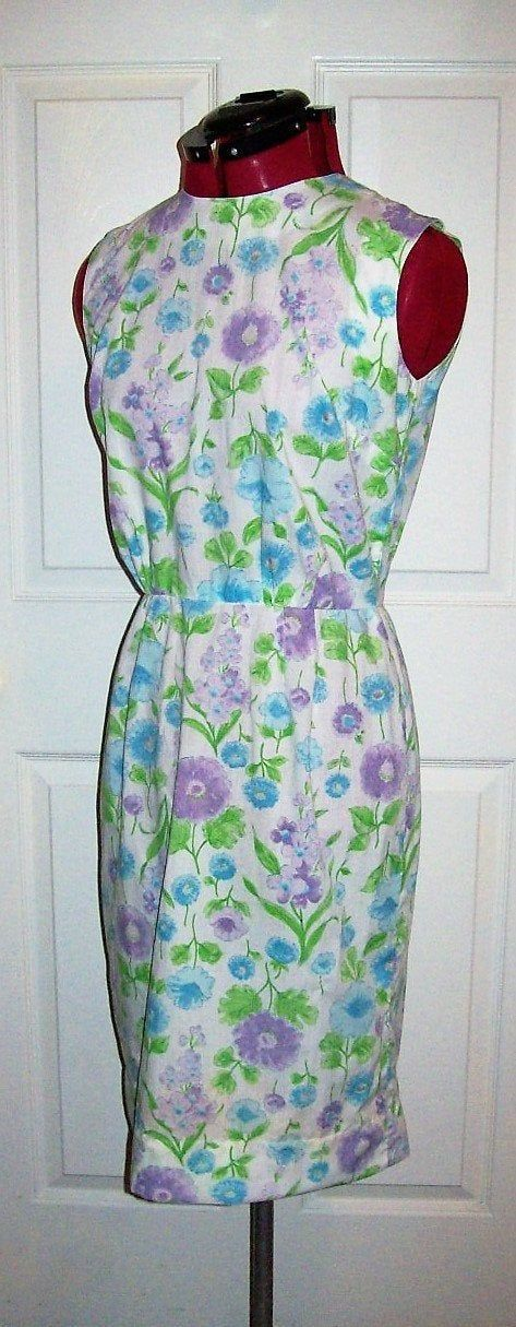 Vintage 1950s 60s Multi Color Floral Sleeveless Cotton Dress Tanner of North Carolina Dorothy Cox Size 12 Only $22 by SusOriginals on Etsy #vintagefashion #sundress #vintagedresses #shiftdress #couture #etsy #dorothyCox
