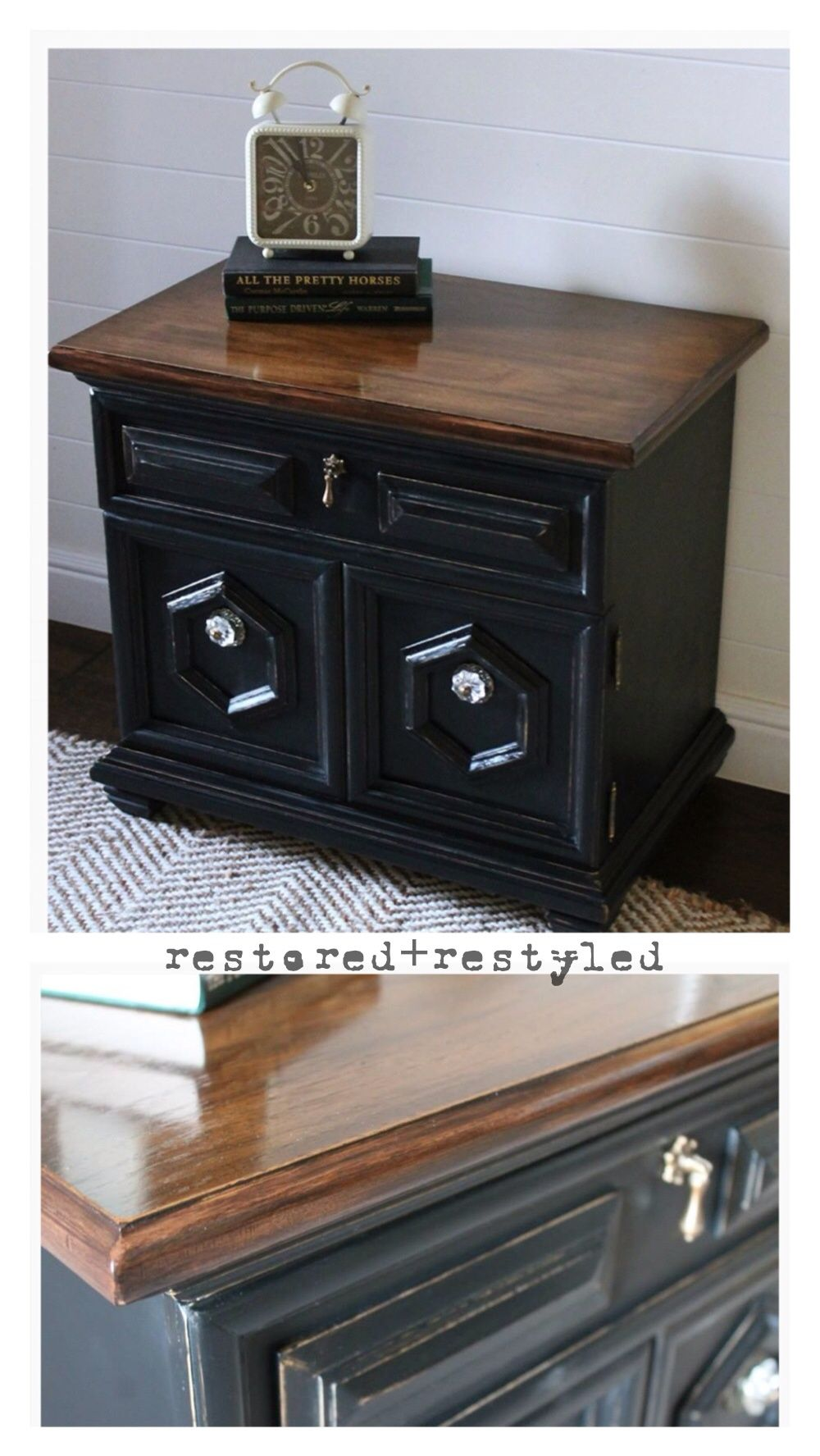 Refinished Nightstand General Finishes Lamp Black And Antique Walnut Java Gel Stain Www