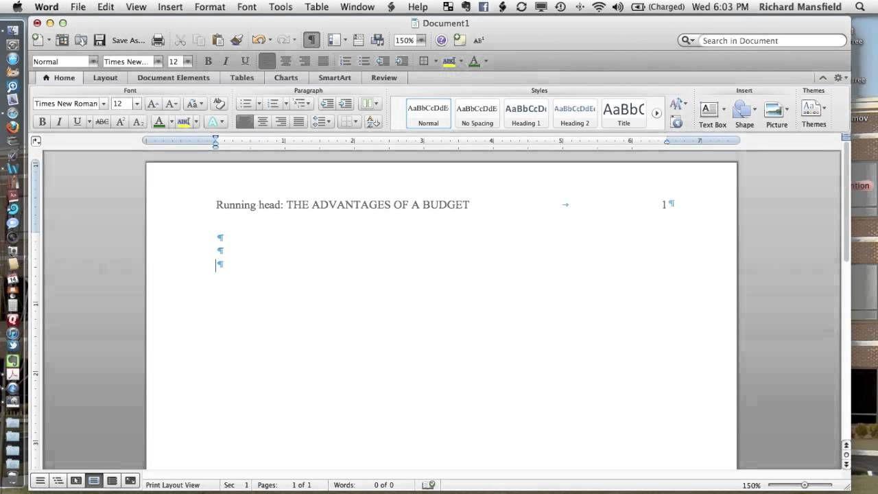 Setting Up Apa 6e Headers In Word 2011 Mac Apa Formatting Word File Words