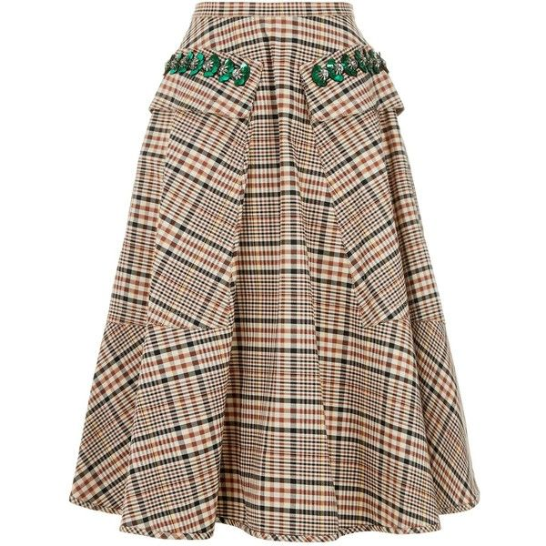 35ba4d0838 No. 21 Plaid Cotton Midi Skirt (3.260 RON) ❤ liked on Polyvore featuring  skirts, knee length a line skirt, plaid skirt, sequin a line skirt, tartan  skirt ...