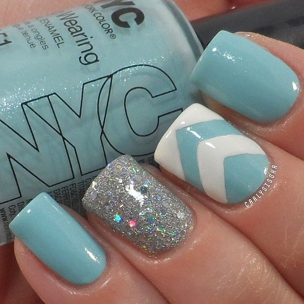 I love the baby blue nails right now. Baby blue and black is even more  contrast and more attention grabbing! - Image Via Pieces Of Amazing