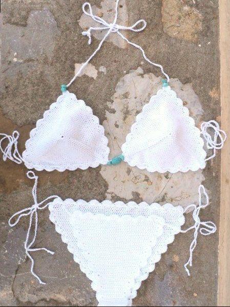 Crochet Bikini in White with Aqua Stones - Handmade crochet swimwear .Tanga.