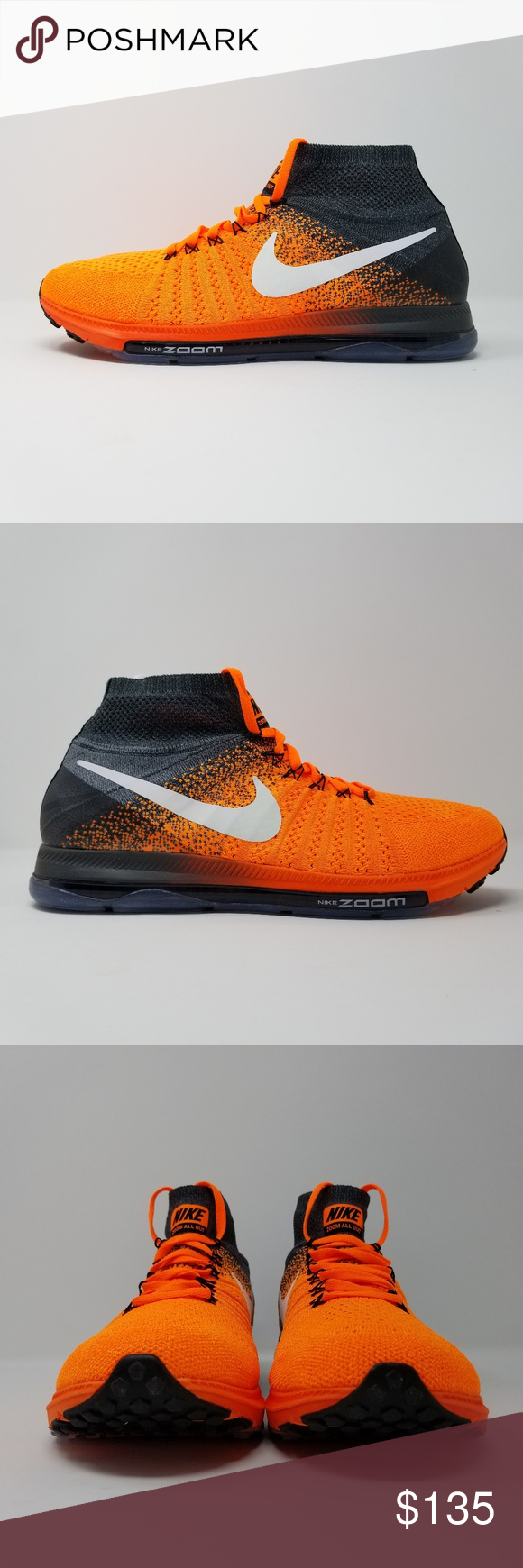 b8a667e46d97 Nike Zoom All Out Flyknit Mens Running Shoes Nike Zoom All Out Flyknit Mens  Running Shoes Style Number  844134 800 Color  Orange White Grey Size  US 10  ...