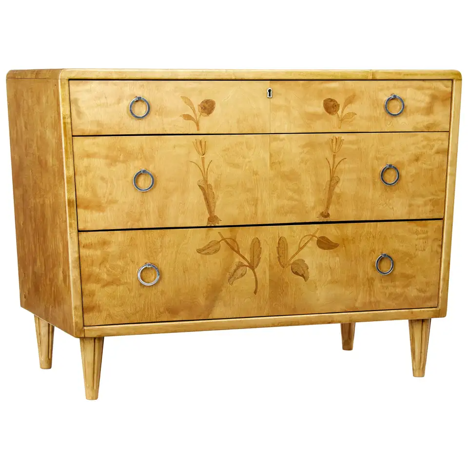 Mid 20th Century Scandinavian Birch Inlaid Chest Of Drawers In 2020 Chest Of Drawers Beautiful Furniture Italian Dresser