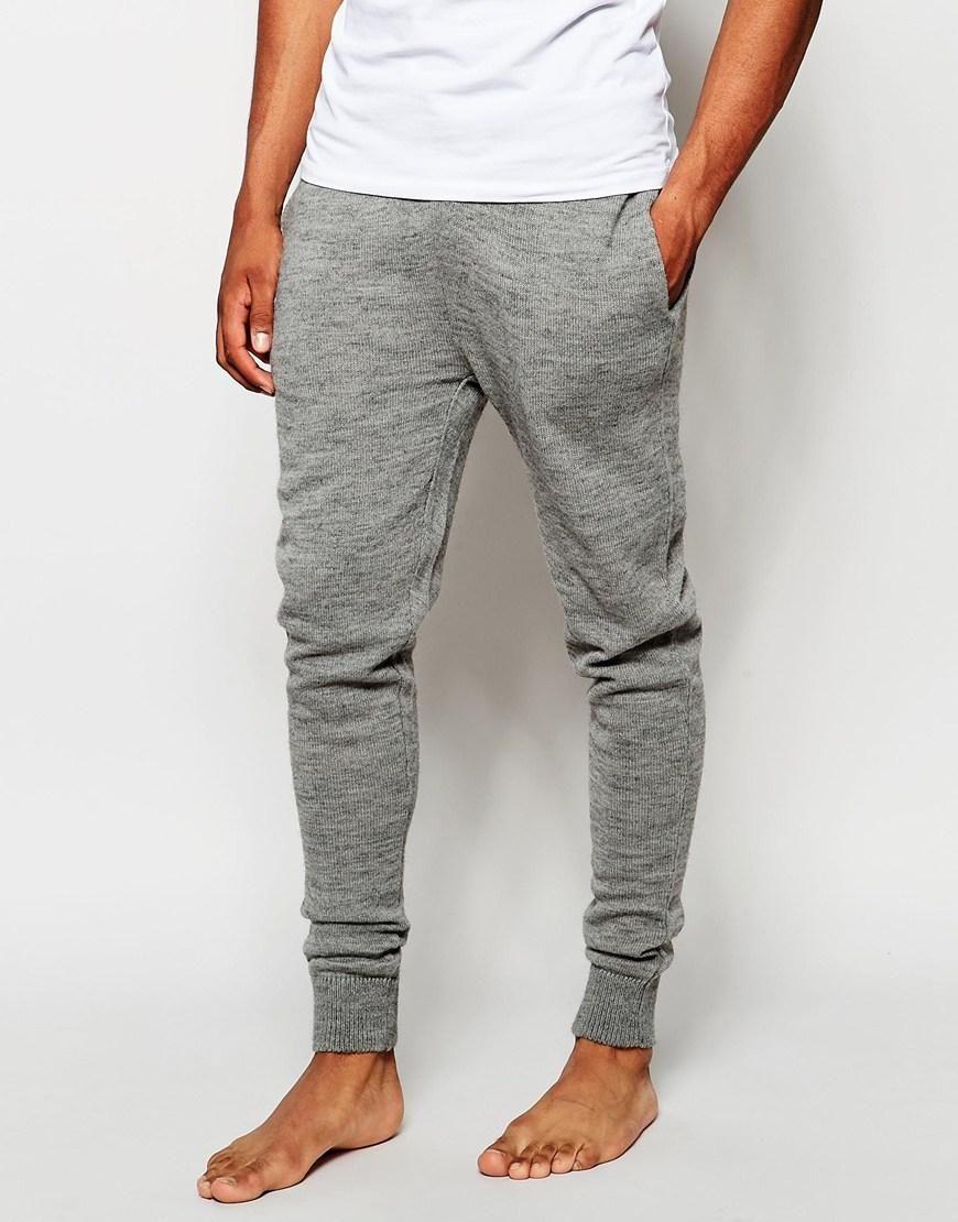 Asos Mens Skinny Joggersweight Fabric Marl Light Gray Marl - Pants