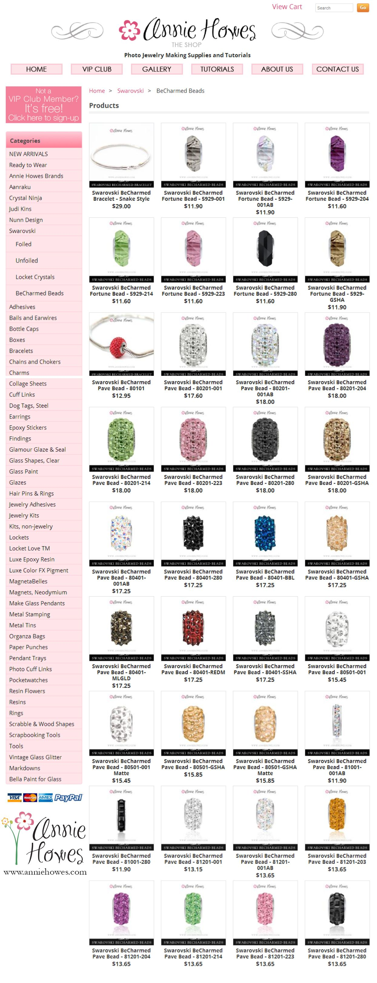 Large selection of Swarovski BeCharmed beads. Create your bracelet today! www.anniehowes.com