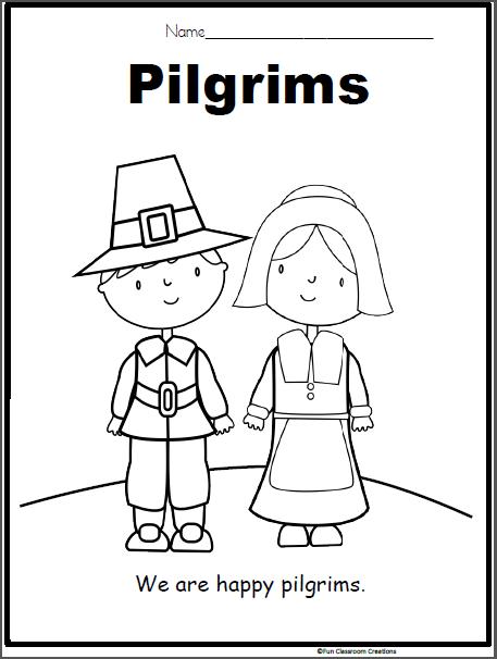Pilgrim Coloring Page For Kindergarten