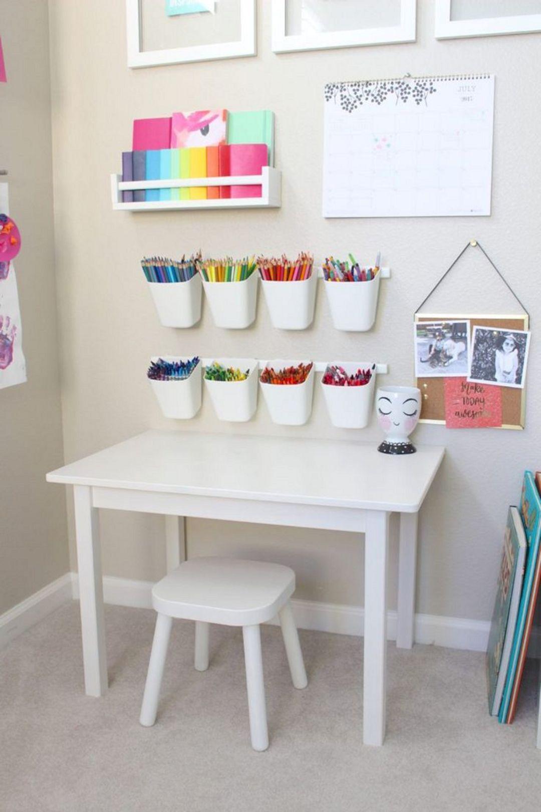 55 Best Montessori Bedroom Design For Happy Kids 006 Goodsgn Pastel Playroom Childrens Desk Childrens Desk And Chair