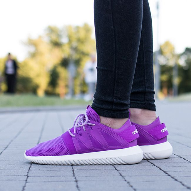 Buy Womens Adidas Tubular Viral Purple White Trainers