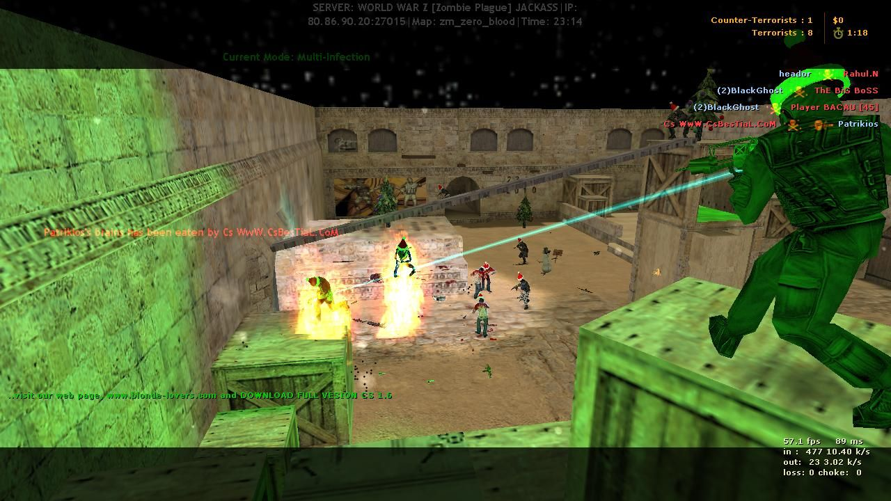 Welcome to Counter strike 1.6 WWZ server , free admin and free VIP ...