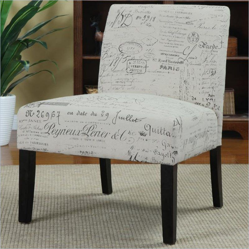 Coaster Upholstered Accent Slipper Chair in Script Ivory For the