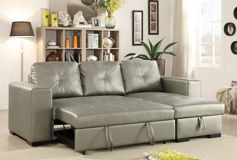 Poundex F6919 2 Pc Everly Silver Faux Leather Sectional Sofa Set With Pull Out Sleep Area Sectional Sofa Leather Sectional Sofas Furniture