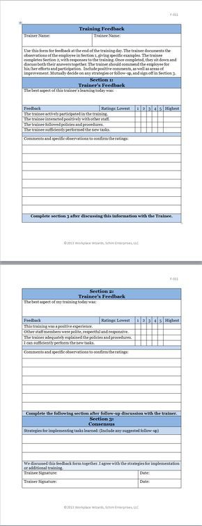 Here Is Preview Of Another Sample Training Feedback Form Template