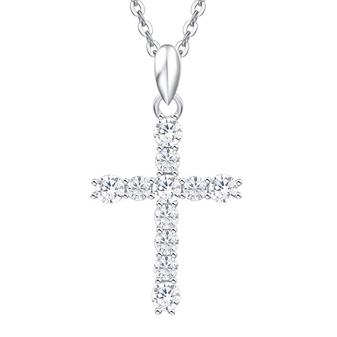 """Sterling Silver Crucifix Cross Pendant Necklace with 18/"""" Silver Chain /& Gift Box"""