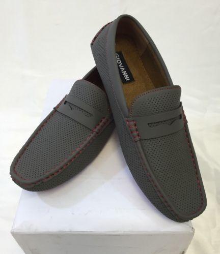 a033b28ea6b MENS GIOVANNI SHOES Loafer Fashion Italian Casual Slip-On GREY RED BOTTOM  STITCH