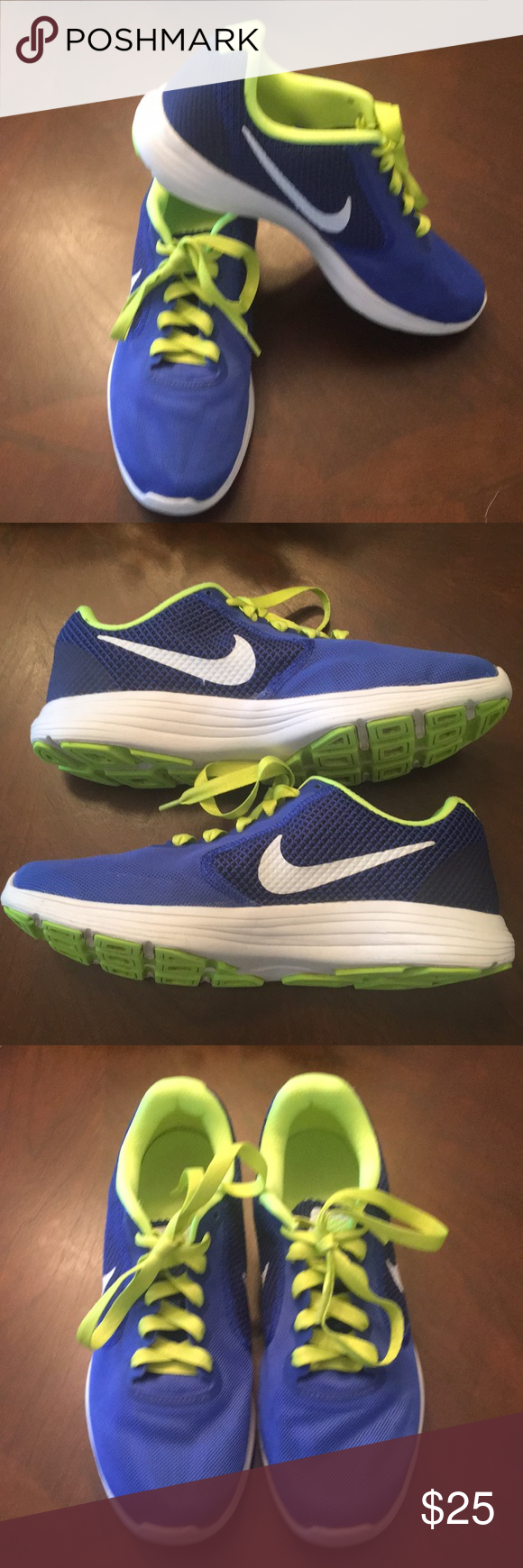 blue nikes with yellow swoosh
