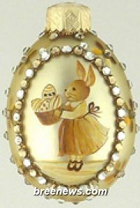 Portrait, Girl Gold Miniature Egg Ornament From Patricia Breen (Easter, Spring)bunnies