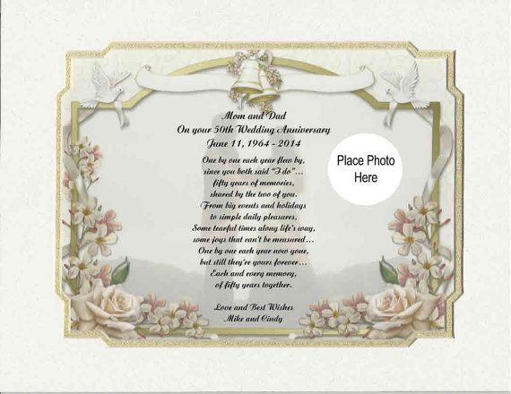 50th anniversary poems personalized 50th wedding anniversary poem gift for mother father or