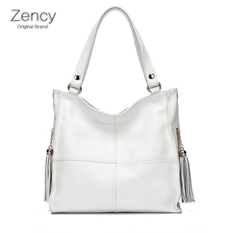 Genuine Leather Handbag Women/'s Ladies BLACK WHITE Long Handle Shoulder Tote Bag