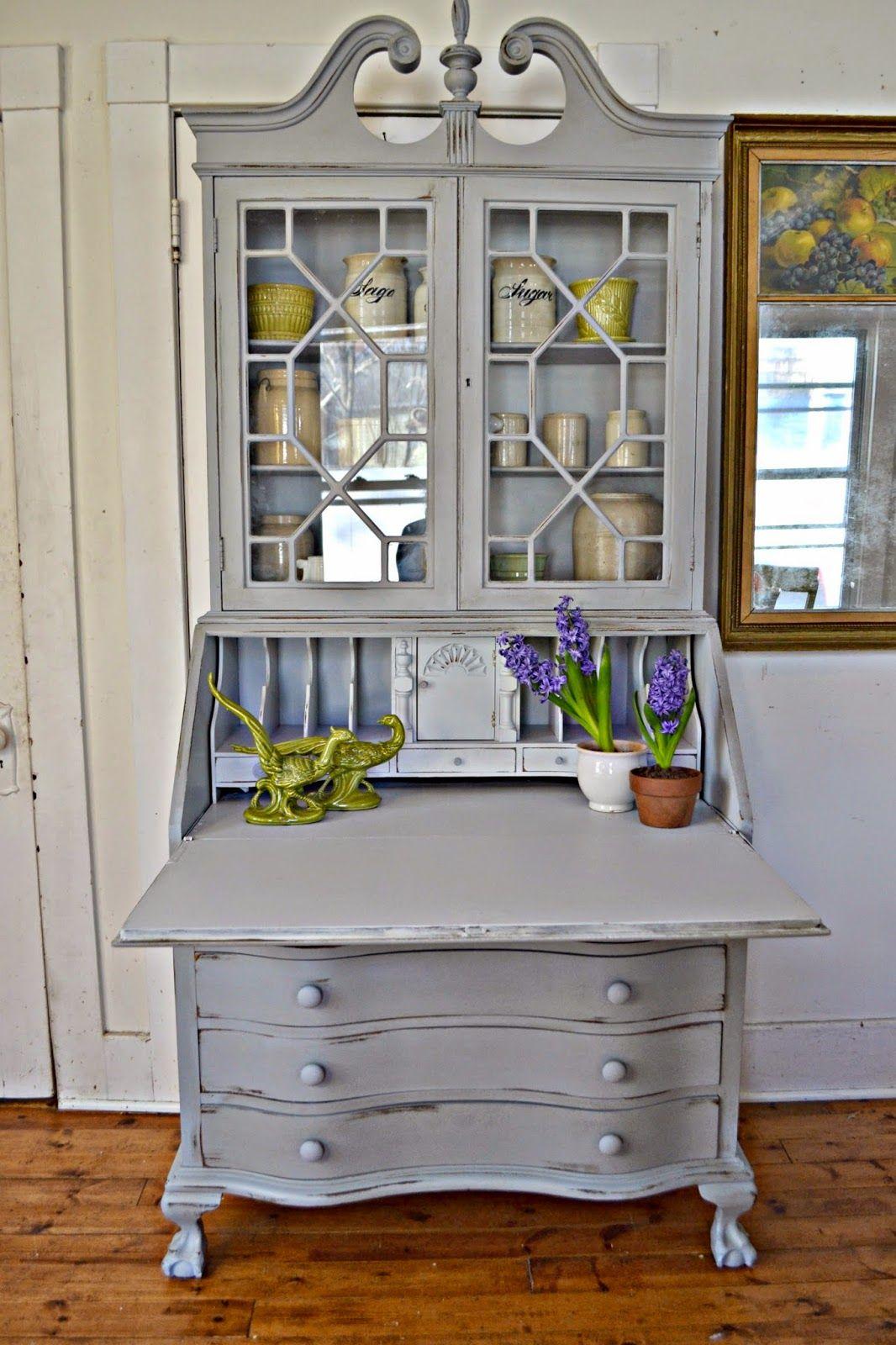 An Antique Secretary In Gray Refinishing Furniture Furniture Repurposed Furniture