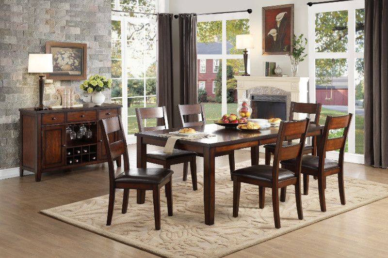 Homelegance He 5547 78 7 Pc Mantello Cherry Finish Wood Dining