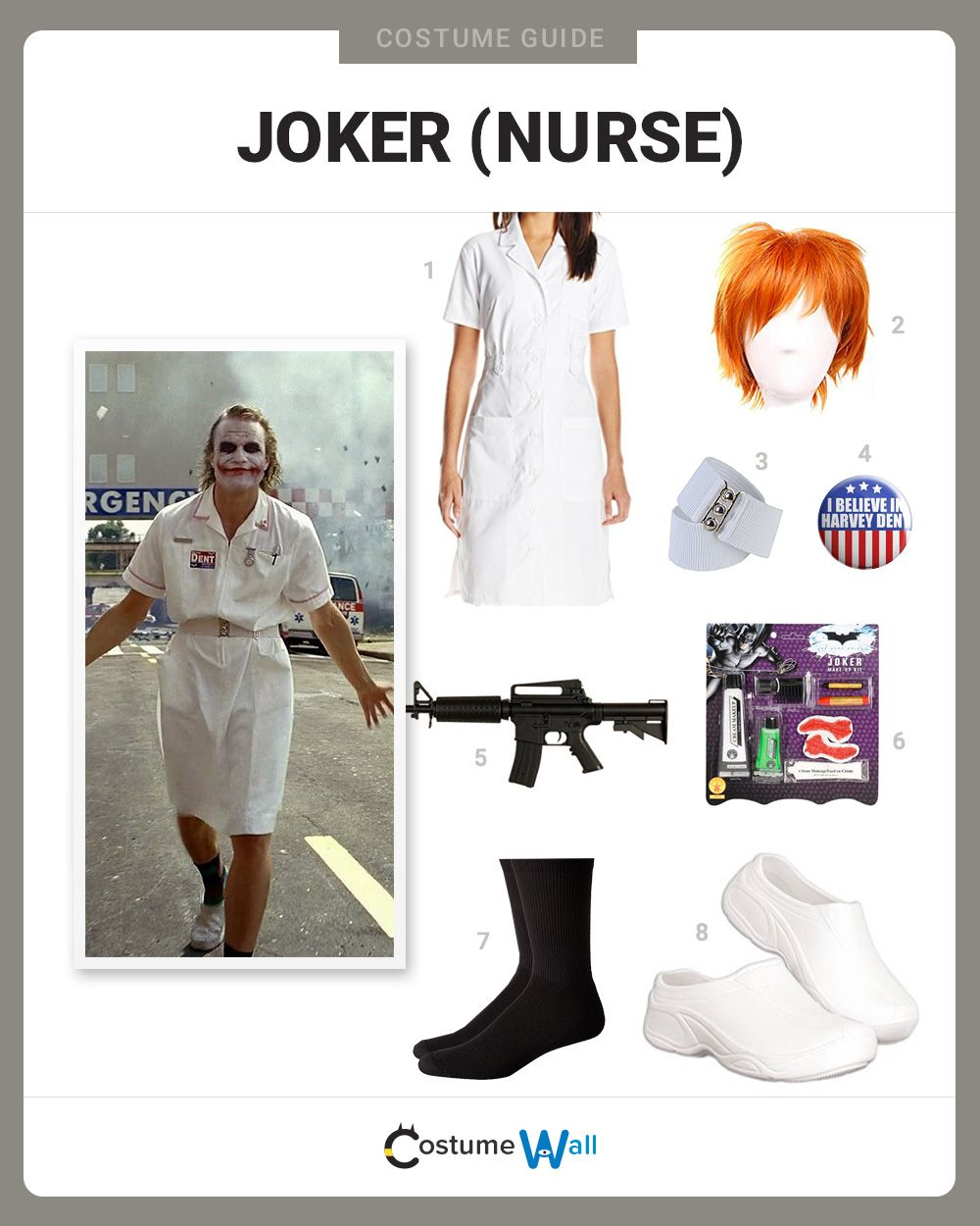 189070d84d785 The best cosplay guide for dressing up like The Joker as a nurse from the  hospital scene in the 2008 Batman movie The Dark Knight.