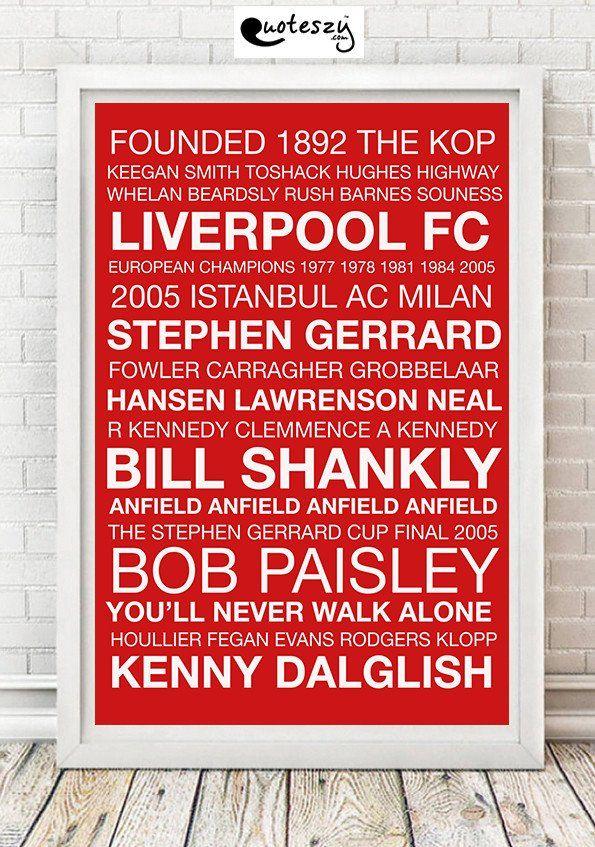 LIVERPOOL WORD PRINT (white frame) | Football Teams Word Prints ...