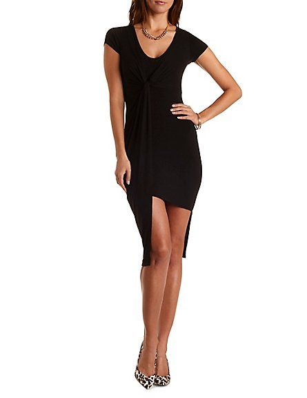 31ad544f75 Ruched   Knotted Asymmetrical Dress  Charlotte Russe  dress  asymmetrical