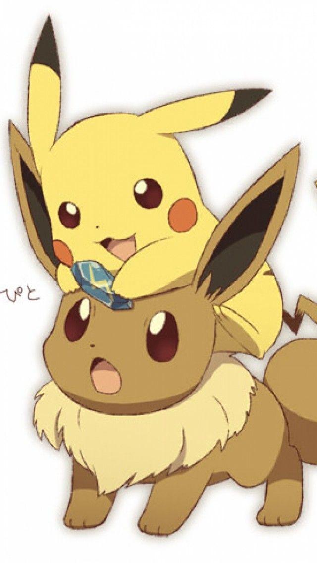 Free Pikachu and Eevee iPhone wallpaper | Chibi ...  Free Pikachu an...