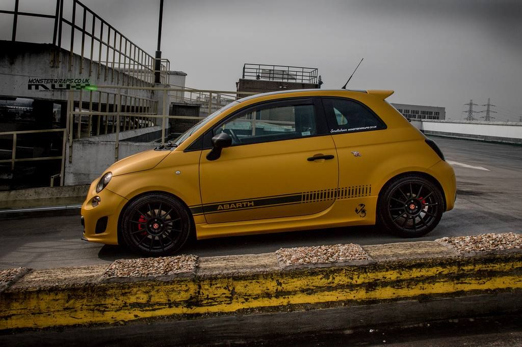Fiat Abarth 500 Matte Metallic Yellow Wrap By Monsterwraps Autos