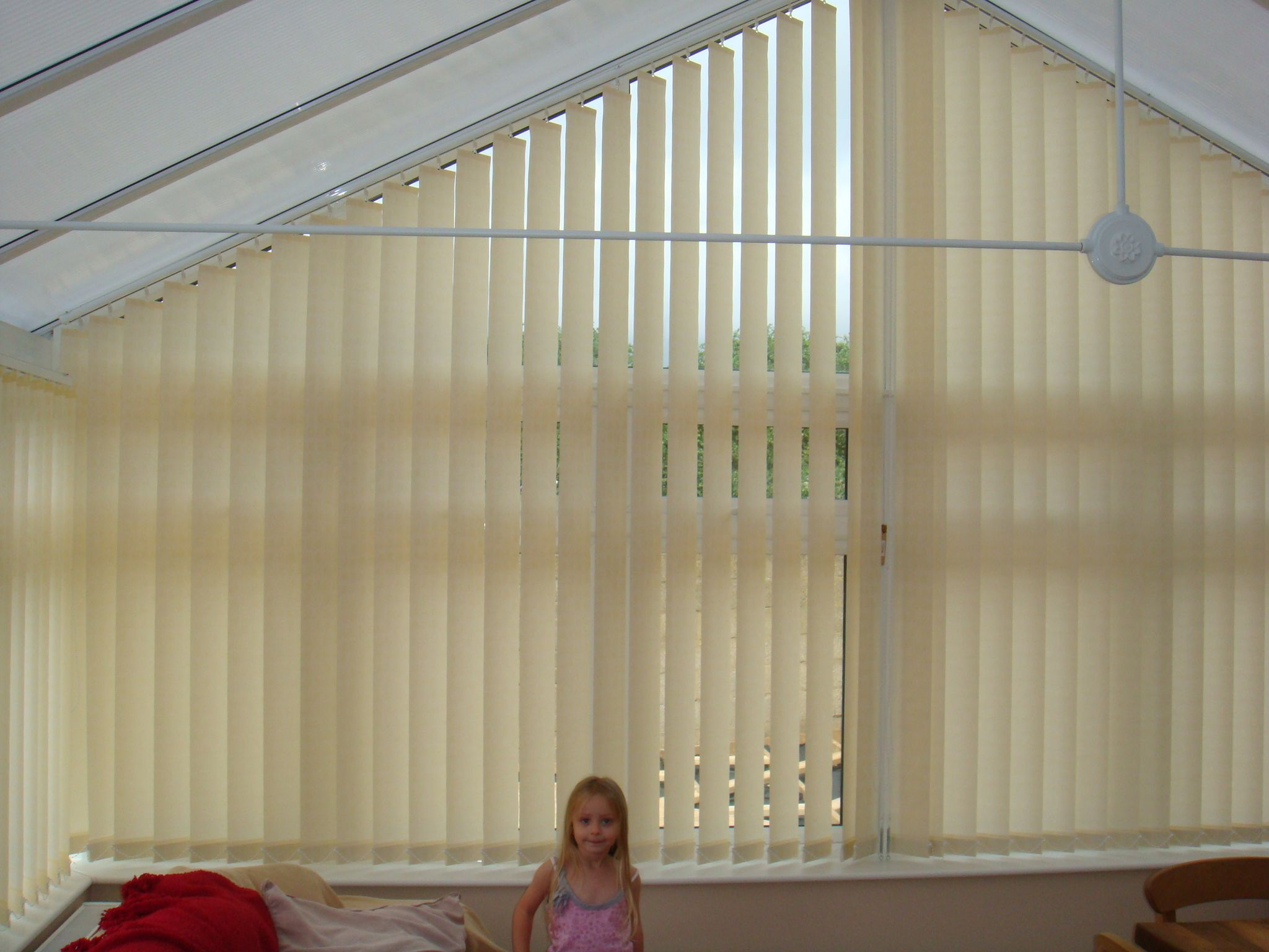 shapped vertical blinds for an apex conservatory windows